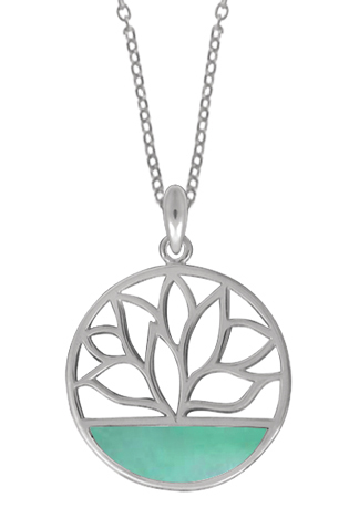 Circle Lotus Necklace Green Mother of Pearl