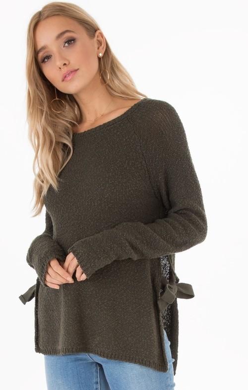 Aria Side Tie Long Sleeve Sweater