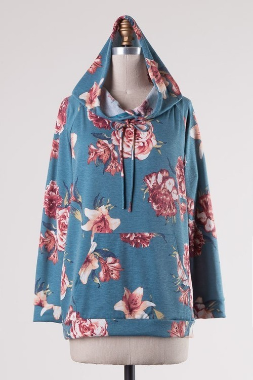Teal Long Sleeve Floral Hooded Pullover