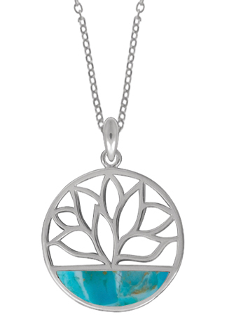 Circle Lotus Necklace Turquoise