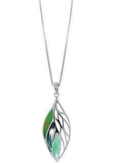 Leaf Dangle Necklace Green Turquoise, Abalone, Green Mother of Pearl