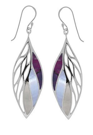 Leaf Dangle Earrings Purple Turquoise, Purple Mother of Pearl, Mother of Pearl