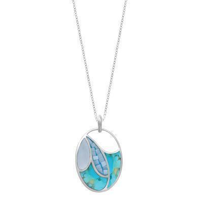 Turquoise, Blue Mother of Pearl Mosaic Necklace
