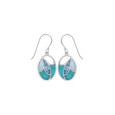 Turquoise Blue Mother of Pearl Mosaic Earrings