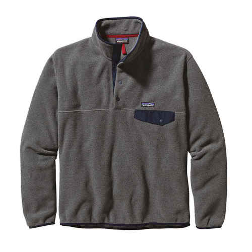 Patagonia M Lightweight Synchilla Snap-T Pullover Nickel with Navy Blue