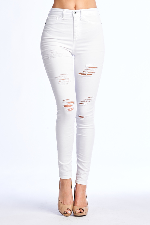 High Rise Ripped Denim