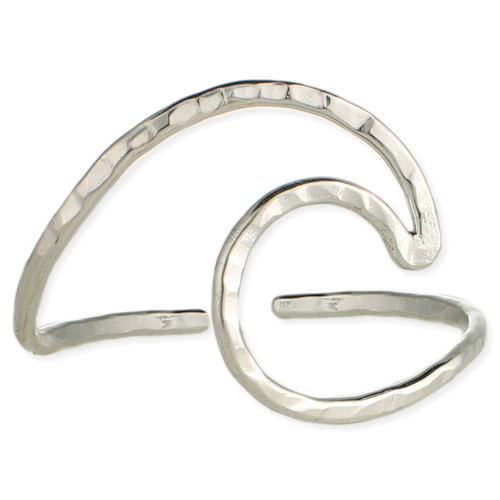 Silver Hammered Wave Cuff