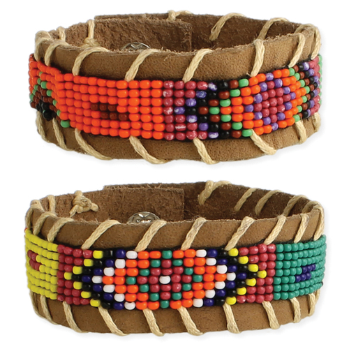 Tan Leather Bead Snap Bracelet