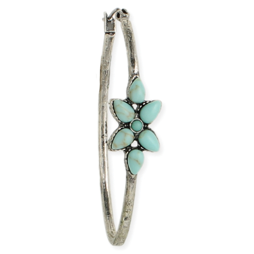 Turquoise Flower Oval Hoops