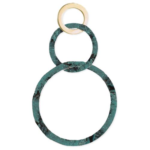 3 Circle Gold & Patina Earrings