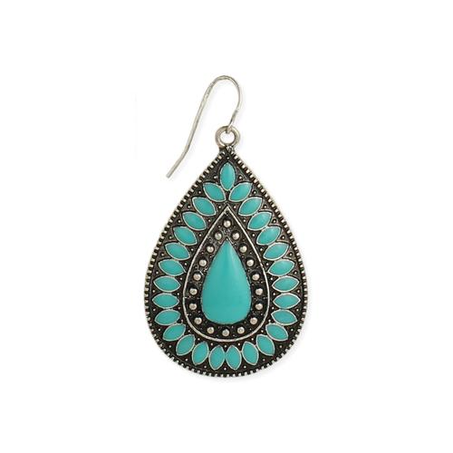 Turquoise Enamel Teardrop Earrings