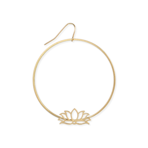 Gold Cutout Lotus Thin Wire Earrings
