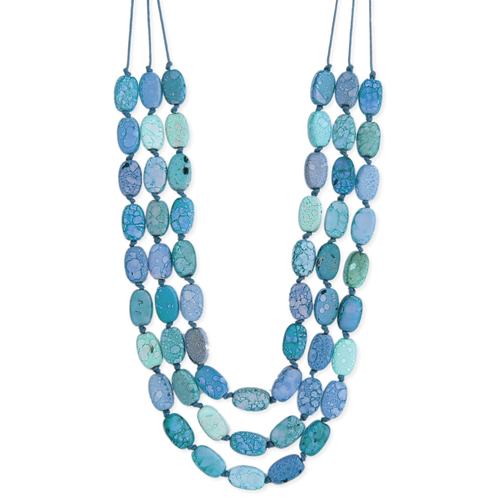 Blue Marbled Cord Necklace