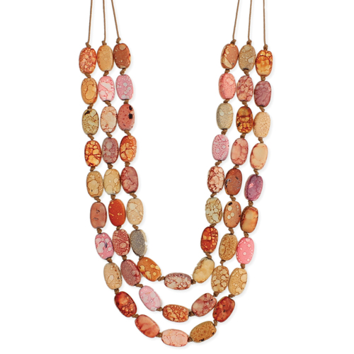 Orange Marbled Cord Necklace