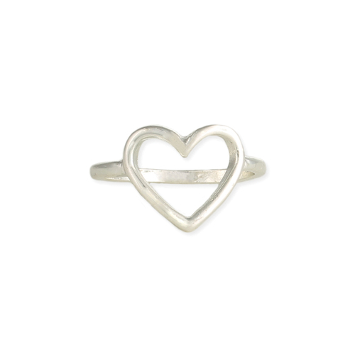 Silver Heart Outline Ring