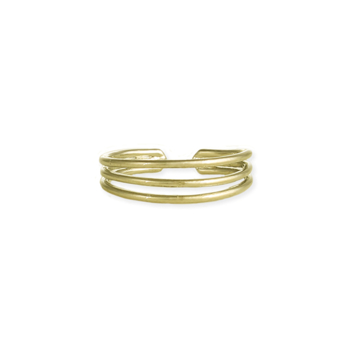 Gold 3 Line Open Toe Ring