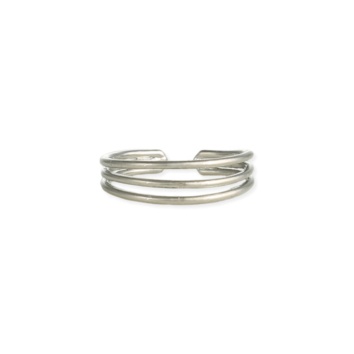 Silver 3 Line Open Toe RIng