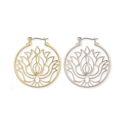 Cutout Lotus Hoop Earrings Silver