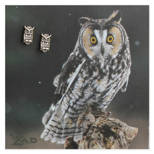 Antique Silver Small Owl Post Earrings