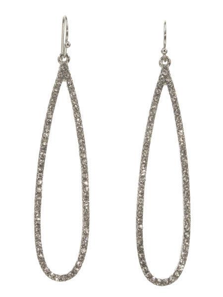 Long Oval Crystal Earrings Silver