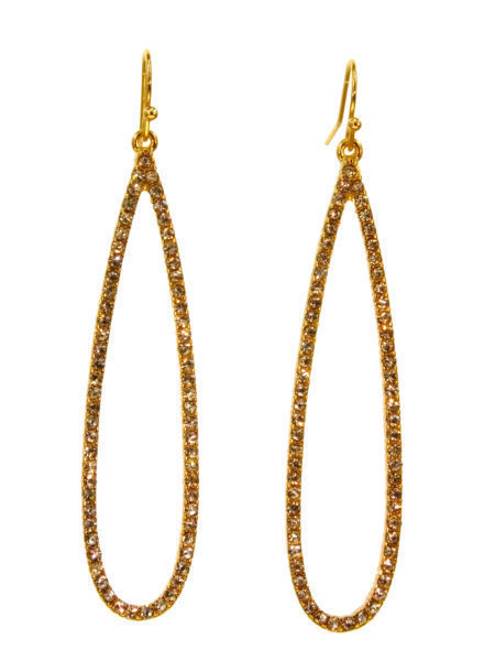 Long Oval Crystal Earrings Gold