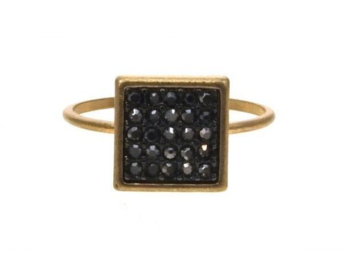 Square with Grey Pave Crystal Ring