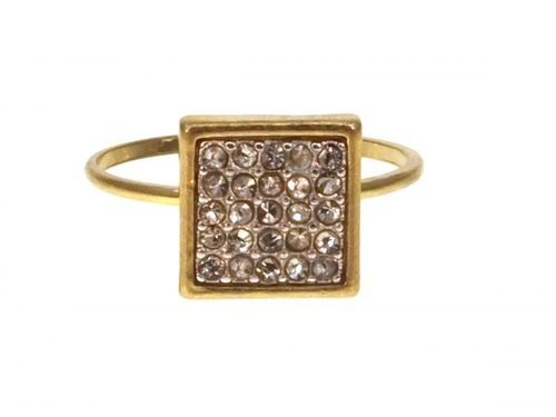 Square with White Pave Crystals Ring