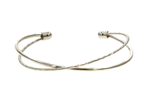 Criss Cross Bangle Bracelet Rhodium