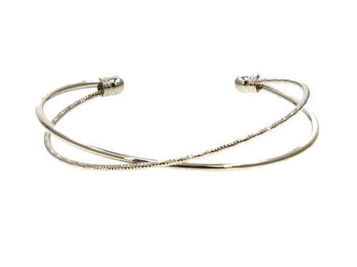 Criss Cross Bangle Bracelet Rhodium
