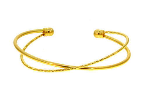 Criss Cross Bangle Bracelet Gold