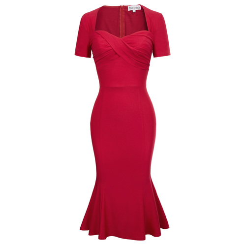 Louisa Mermaid Pencil Dress in Red