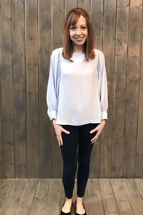 Billow Sleeve Sky Blue Blouse