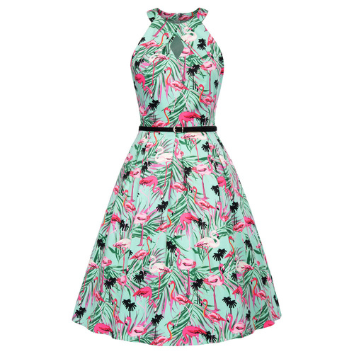 Elora Dress in Flamingo Print