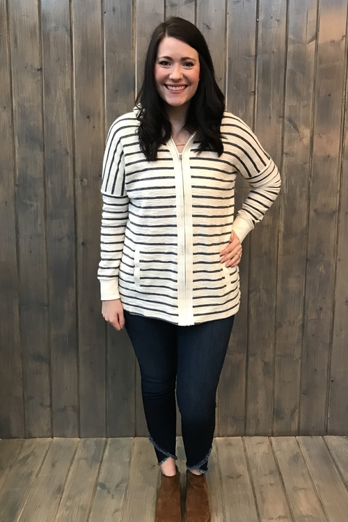 Striped Front Placket Zipper Hoodie