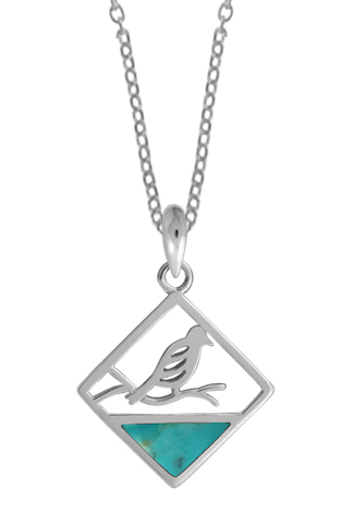 Square Bird on a Branch Necklace Turquoise