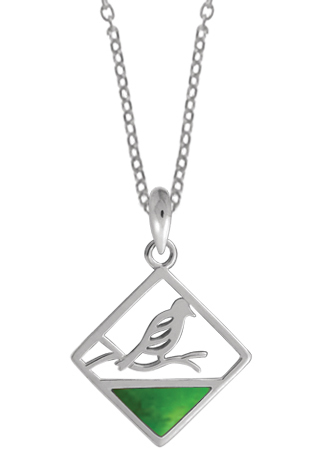 Square Bird on a Branch Necklace Green Turquoise