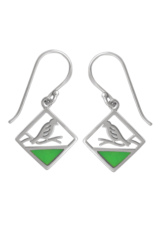 Bird on a Branch Green Turquoise Earrings