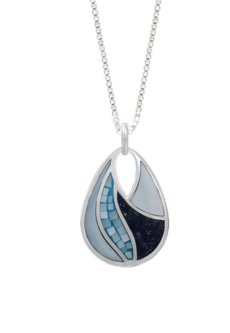 Lapis, Blue Mother of Pearl Mosaic Necklace