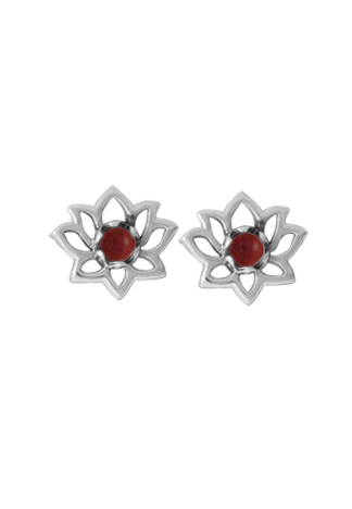 Red Coral Flower Stud