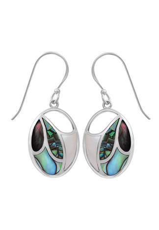 Blue Mother of Pearl, Albalone, Mother of Pearl Mosaic Earrings
