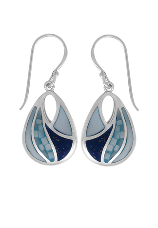 Lapis, Blue Mother of Pearl Mosaic Earrings