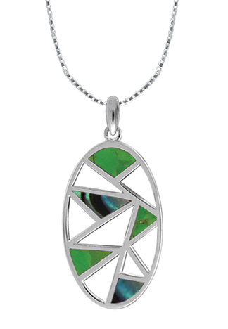 Green Turquoise, Abalone Abstract Necklace
