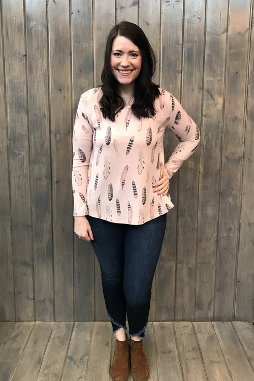 Dusty Pink Feather Knit Pullover