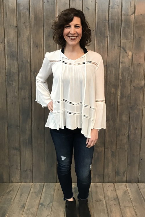 White Crochet Lace Blouse