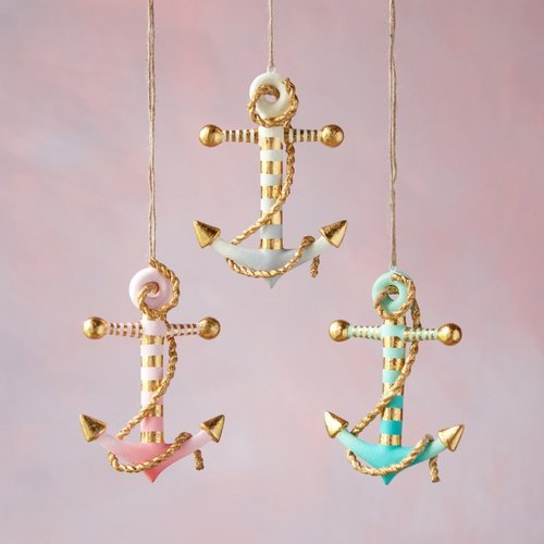 Gold Dipped Anchor Ornament