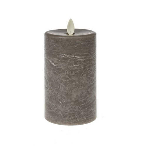 Waxed LED 3x7 Pillar Flicker Gray Candle