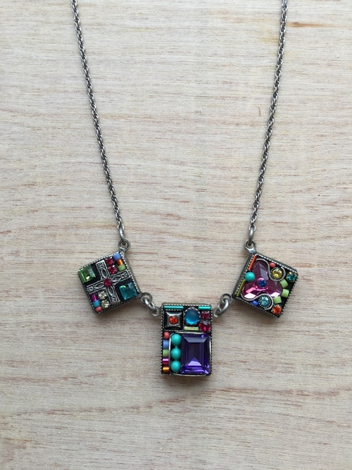 Geometric 3 Square Necklace Multicolor