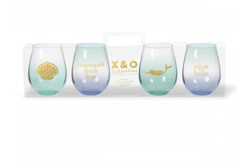 Mermaid Stemless Wine Glass Set