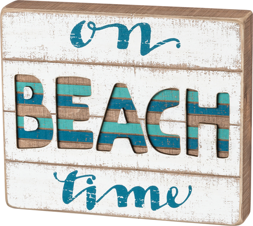 On Beach Time Color Slat Sign