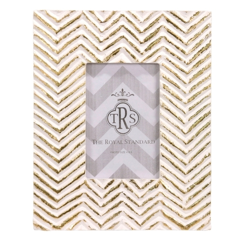 Gold Whitewash Chevron 4x6 Frame